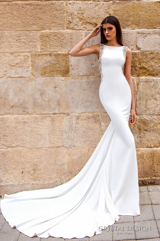 embellished bateau wedding dress