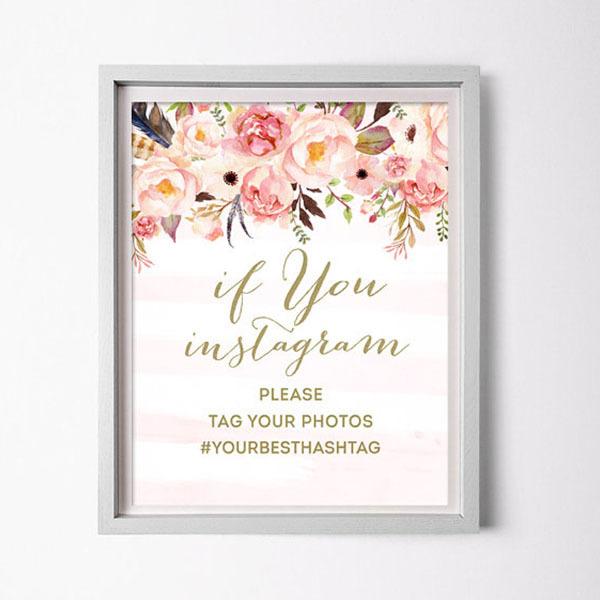 floral Instagram sign
