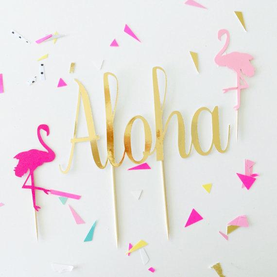 aloha cake topper