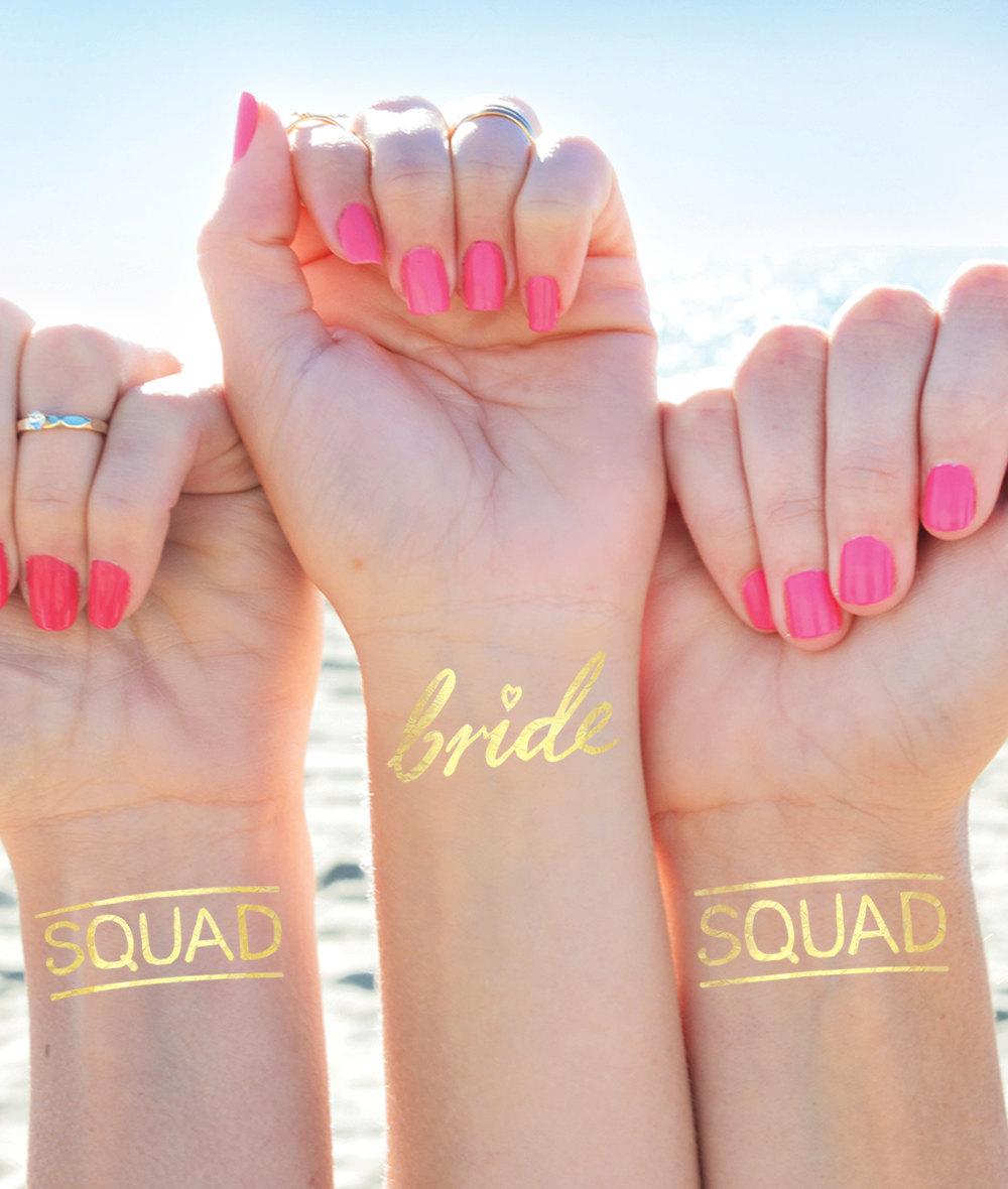 Bride Squad Bachelorette Temporary Tattoos