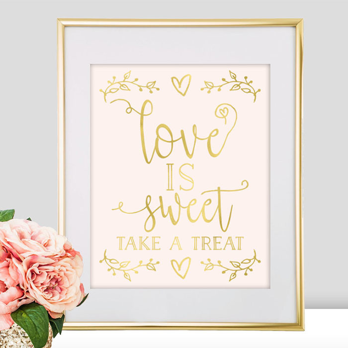 White and gold wedding sign