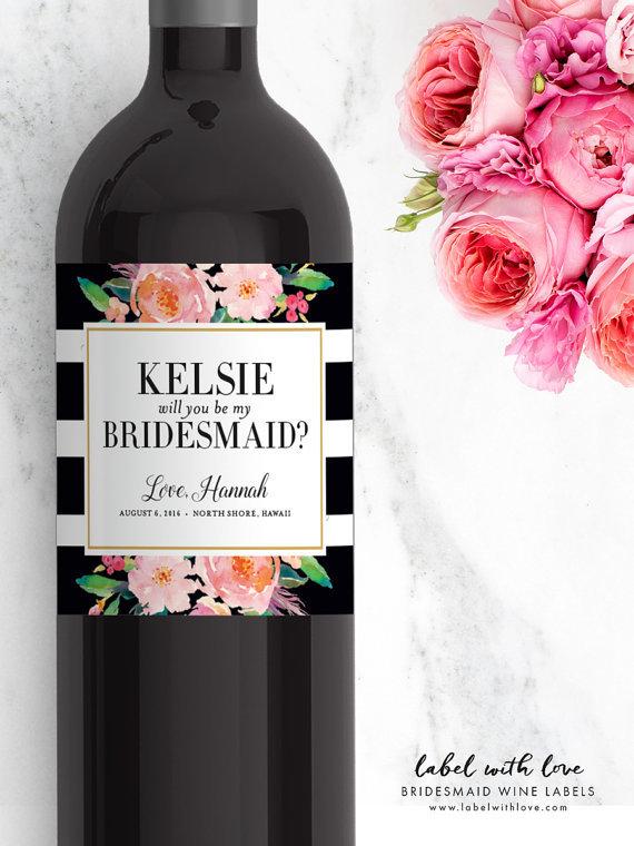 "Custom ""Be My Bridesmaid"" Wine Labels"