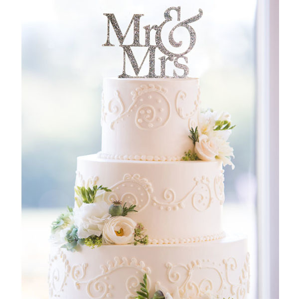 Glitter Mr. and Mrs. Wedding Cake Topper