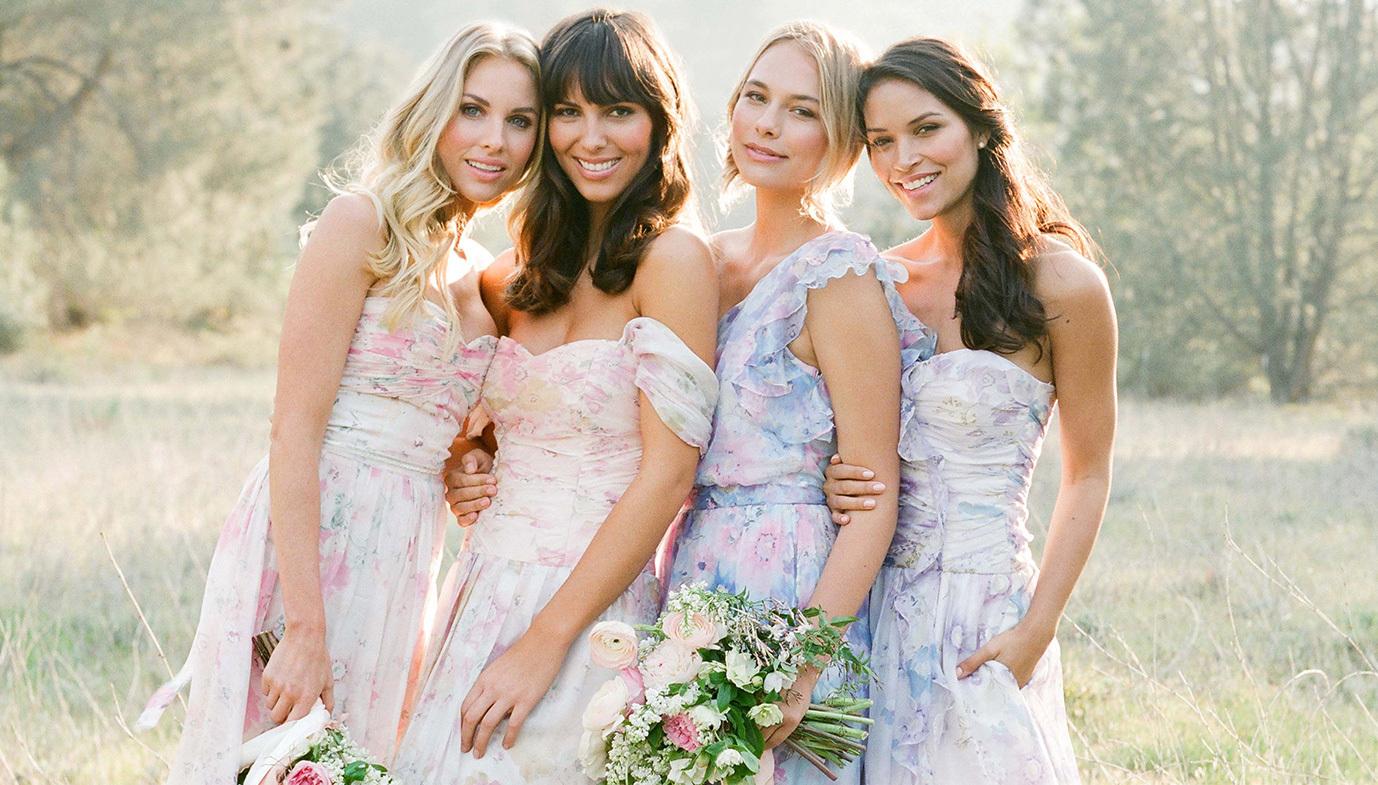 Watercolor floral bridesmaids dresses