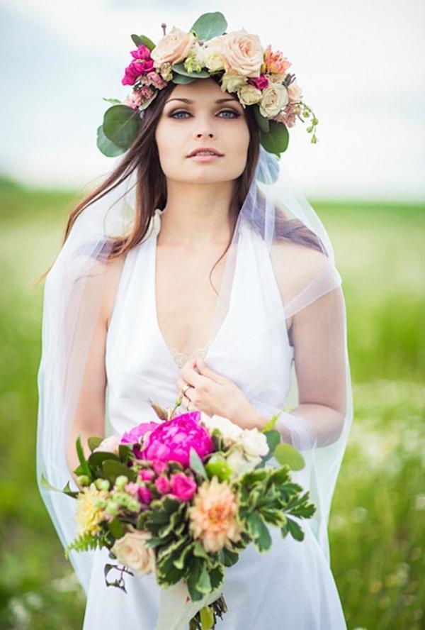 Floral crown for wedding hair ideas