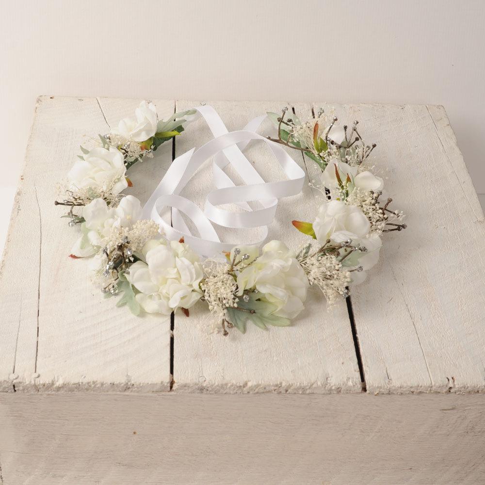 Boho White Flower Crown