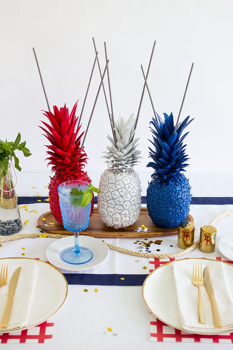 Red, White and Blue Pineapple Centerpieces with Sparklers by Freut Cake