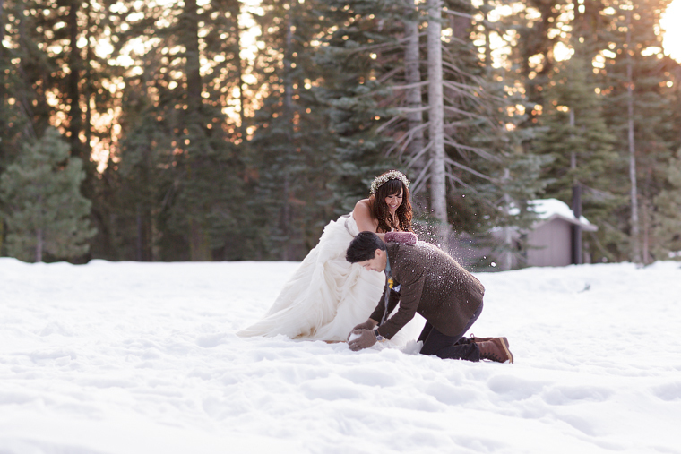 snow fight wedding