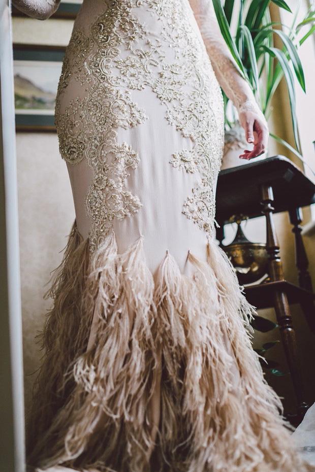feather mermaid wedding dress