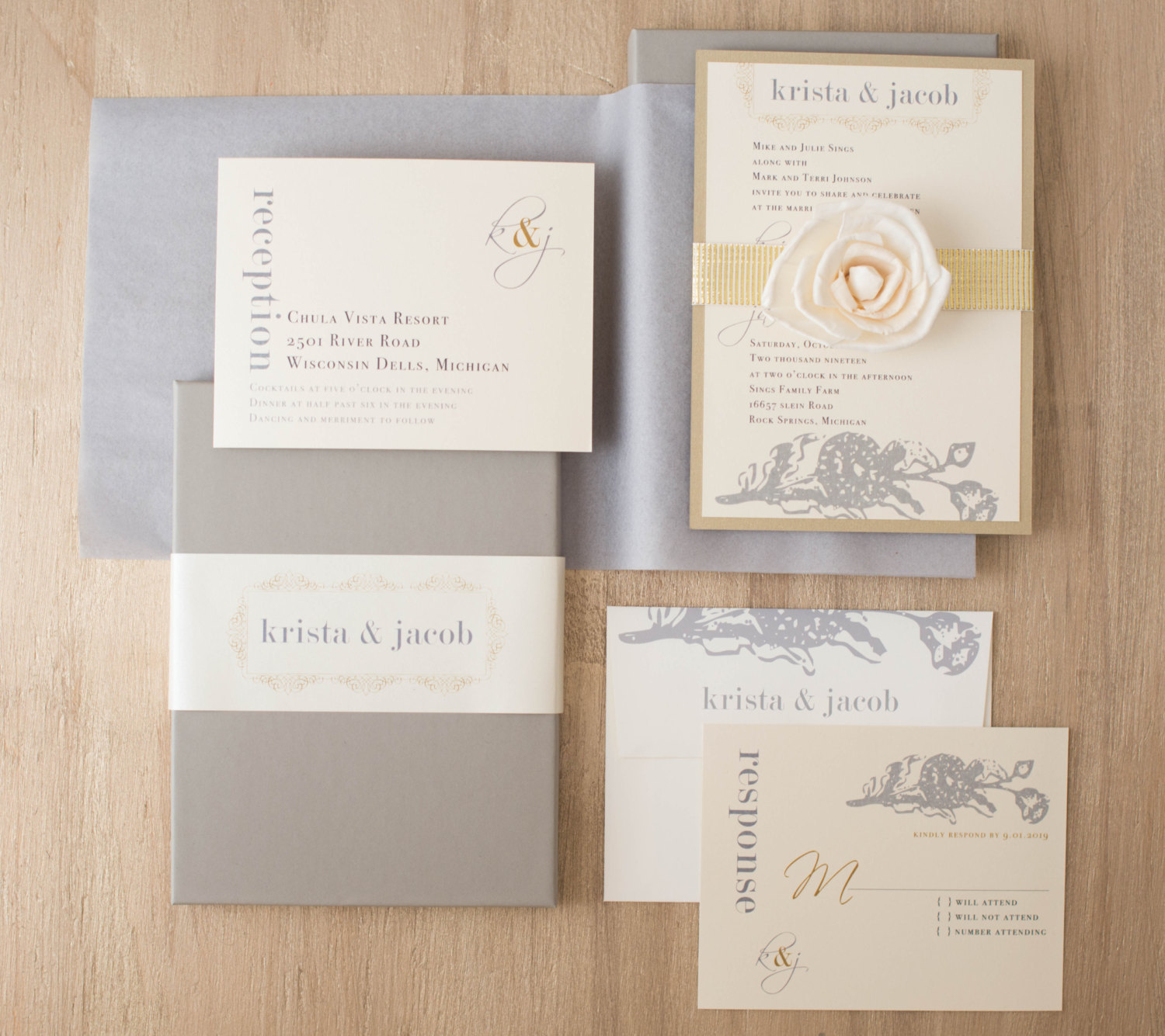 Chic Silver and Gold Invites