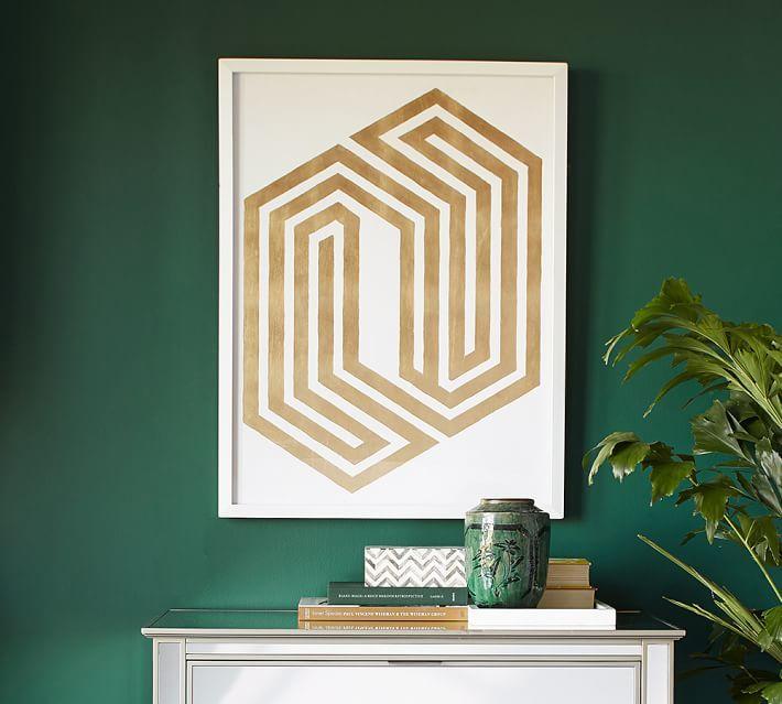 Gold Leaf Geometric Framed Print - Pottery Barn Wedding Registry