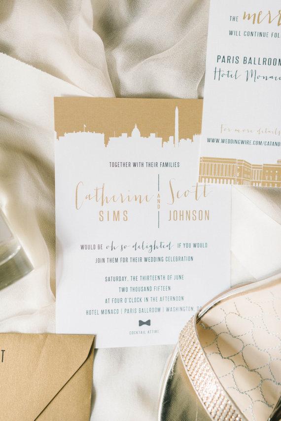 gold skyline wedding invitation