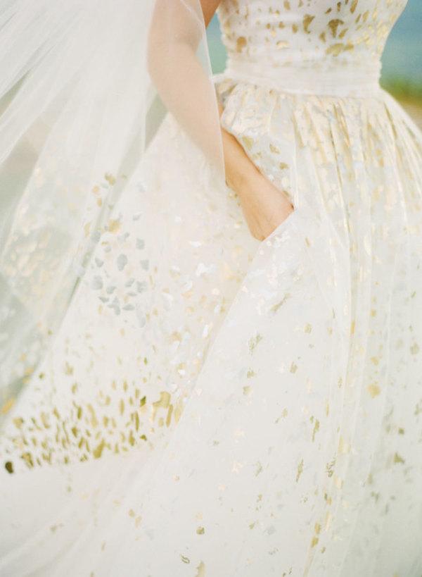 Golden decorated wedding dress