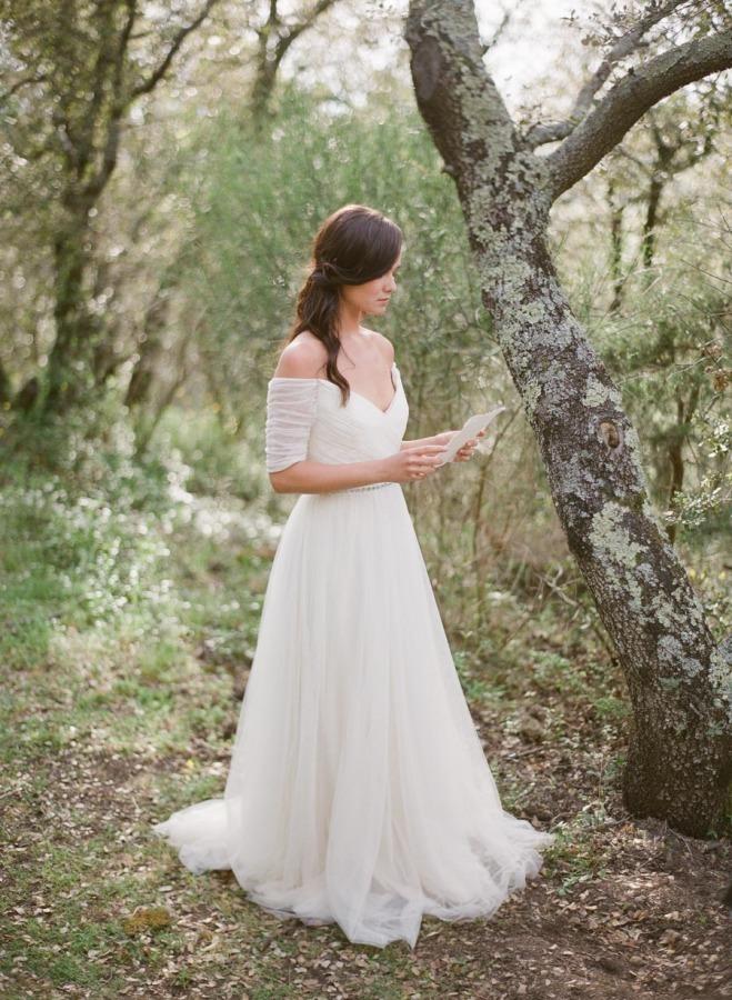 three quarter sleeve off the shoulder wedding dress