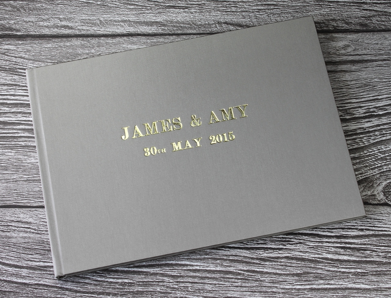 Gray and gold foil guest book