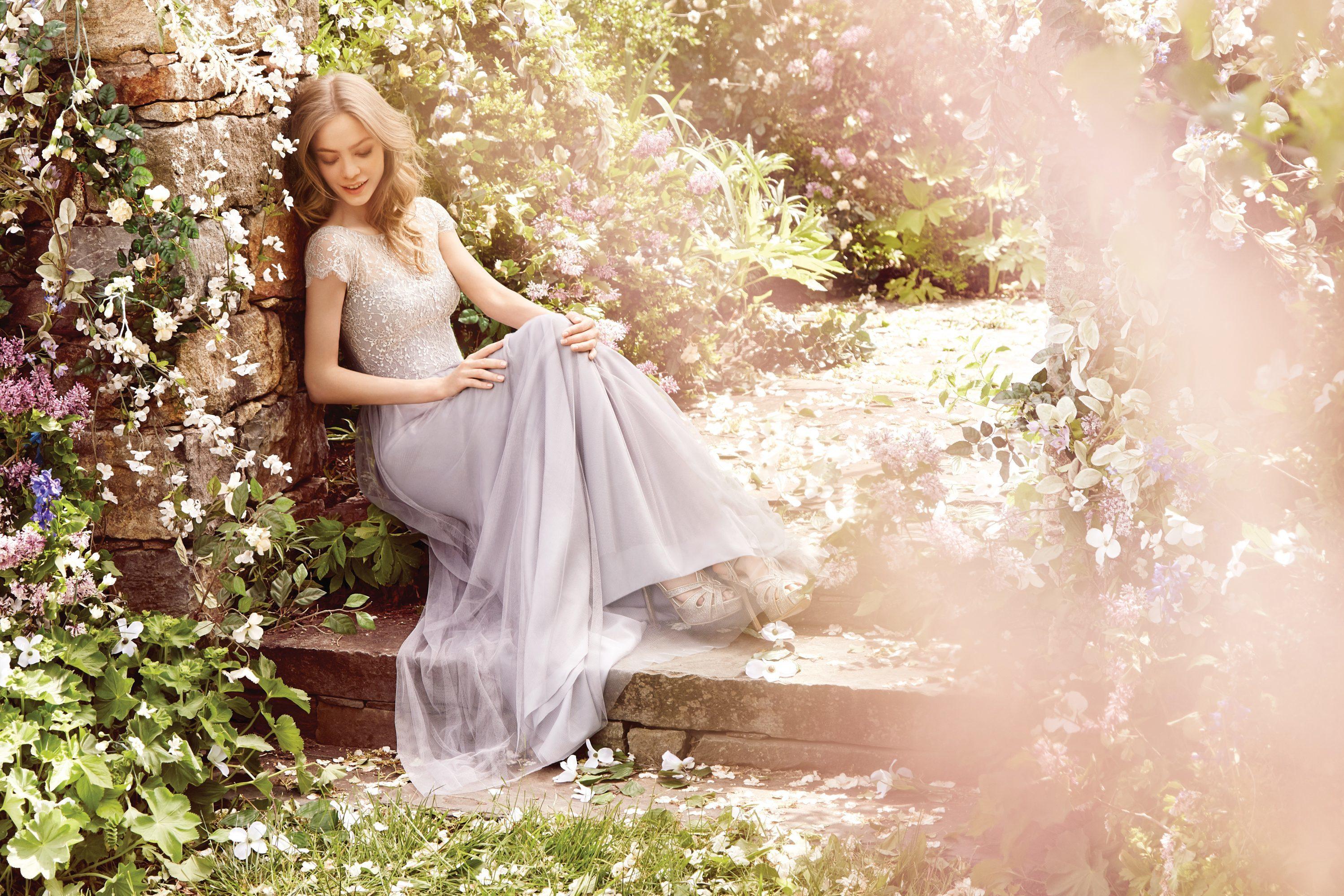 pale gray bridesmaid skirt