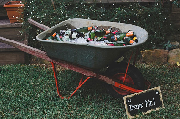 DIY Wheelbarrow Cooler for Rustic Wedding by Hello May
