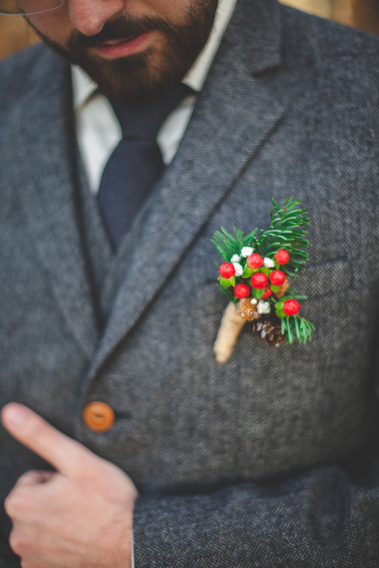 Holly Berry Boutonniere