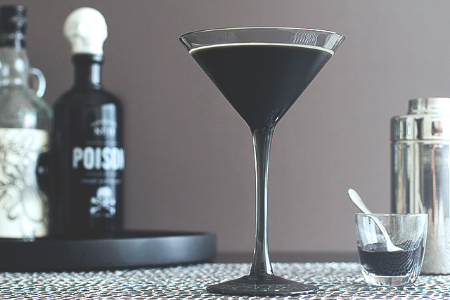 black martini cocktail