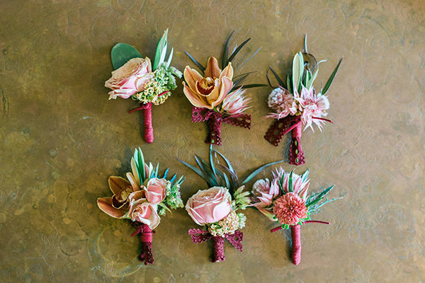 Fiesta Succulent Boutonnieres via Honey Honey Photography