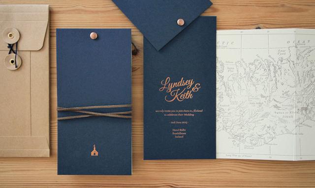 iceland map wedding invitation