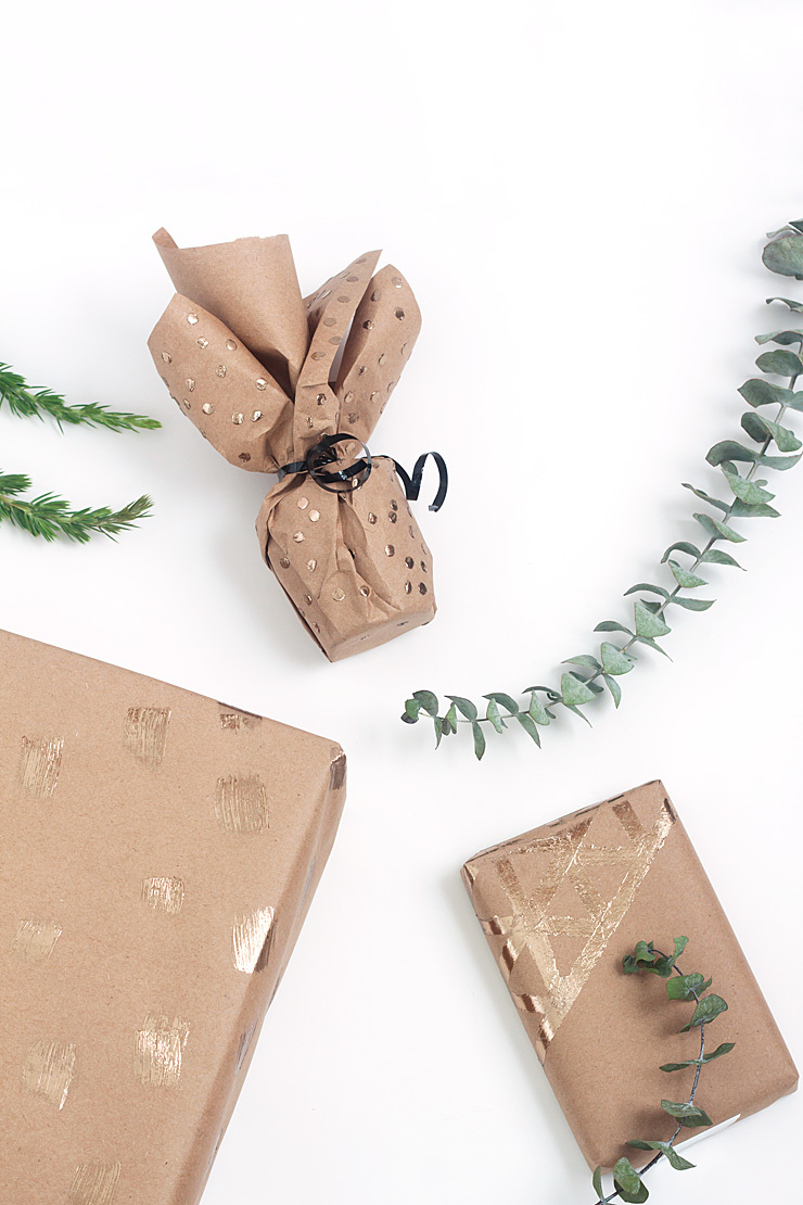 DIY gold foil wrapping paper