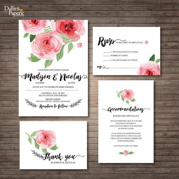 Calligraphy and Peony Wedding Invitation