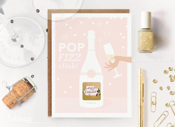"Scratch-Off ""Pop Fizz Clink"" Bridesmaid Cards"