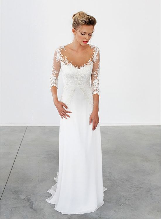 illusion sleeve wedding dress