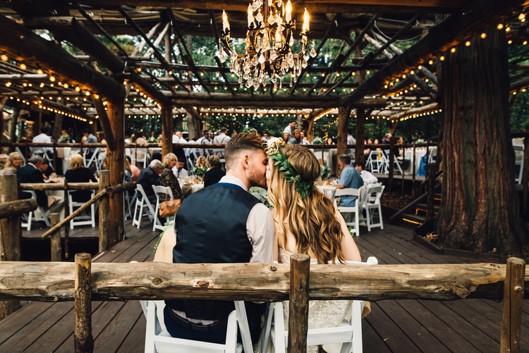well lit cabin wedding