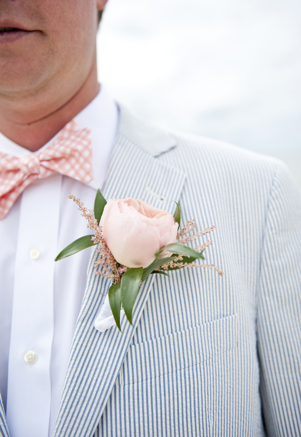 Pastel Pink Peony Boutonniere via Jen Harvey Photography