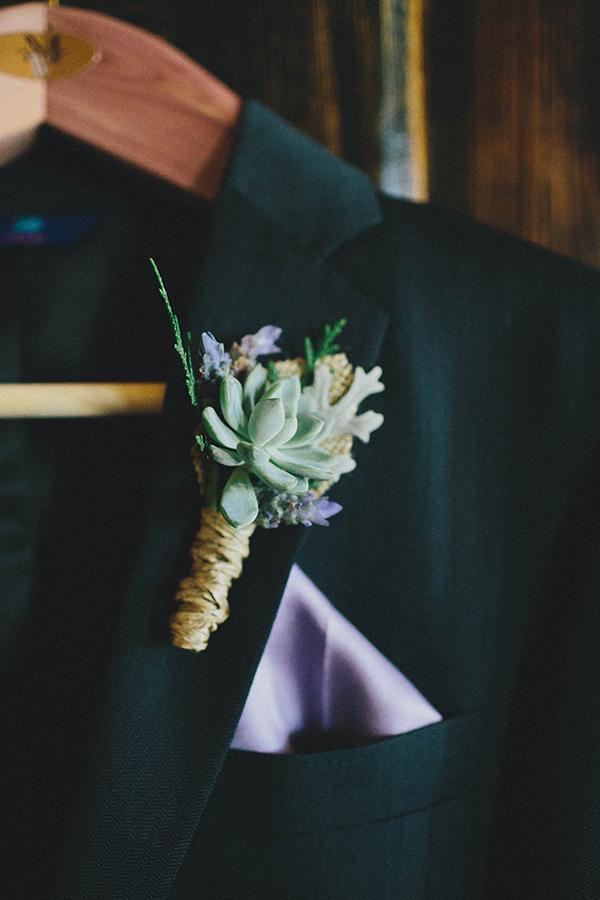 simple succulent boutonniere