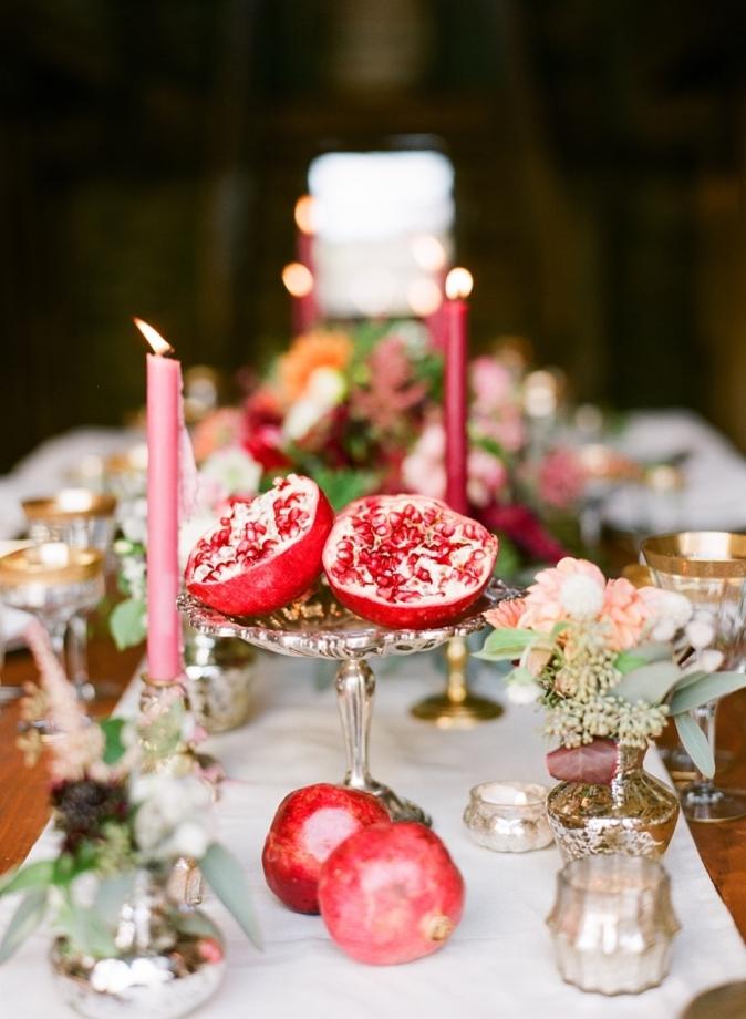 pomegranate wedding arrangement