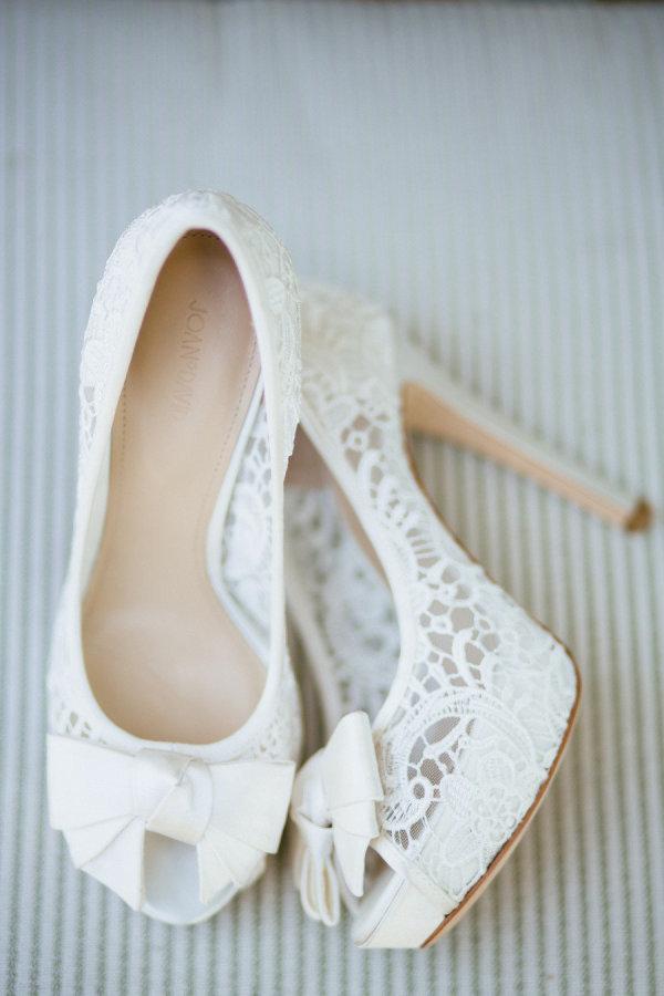 Lace insert wedding heels