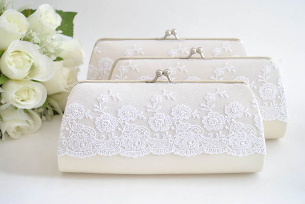 Wedding clutch with lace overlay