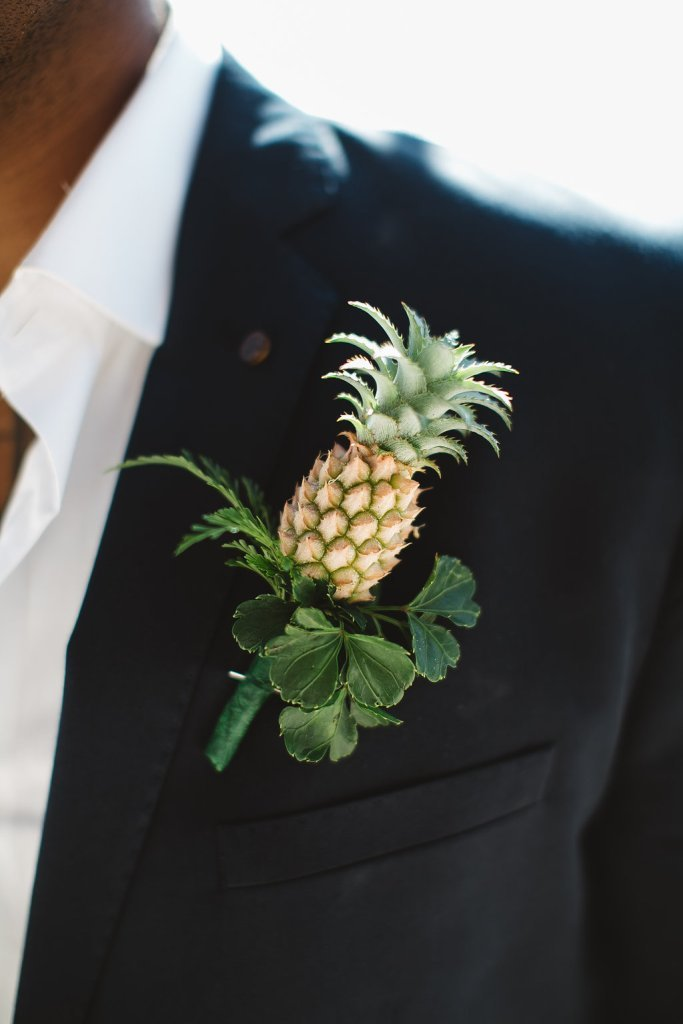 Pineapple Groom's Boutonniere via Bula Bride