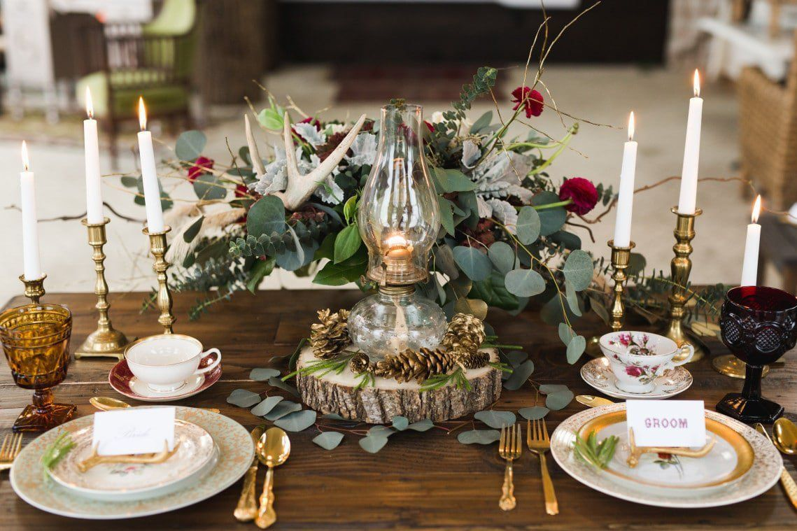 fall woodland tablescape