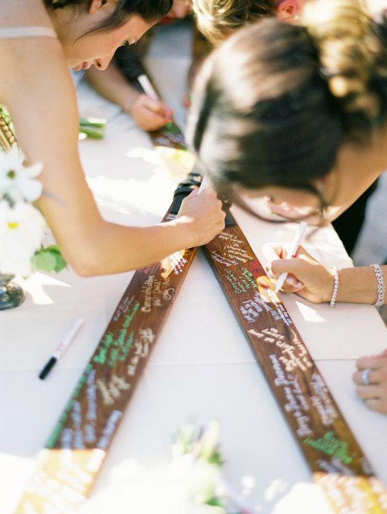 DIY skis wedding guest book