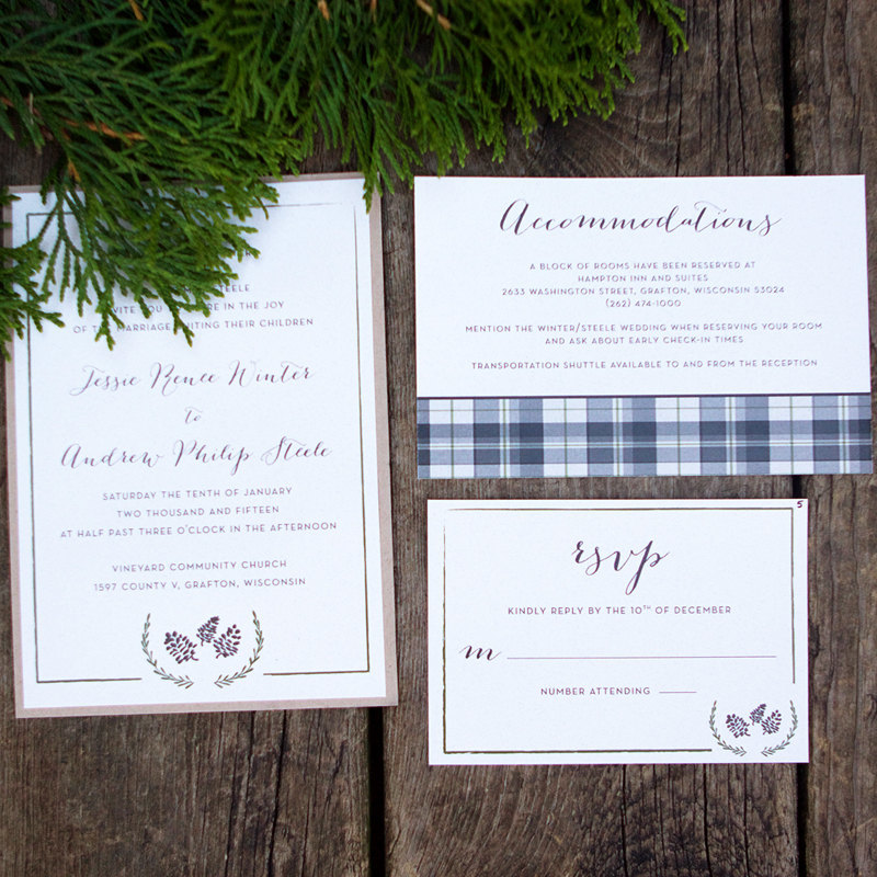 plaid wedding invitation