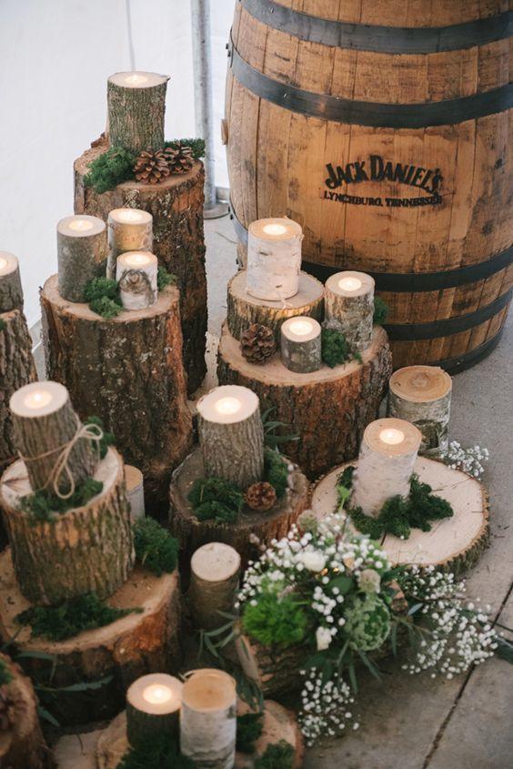Nonfloral wood centerpieces