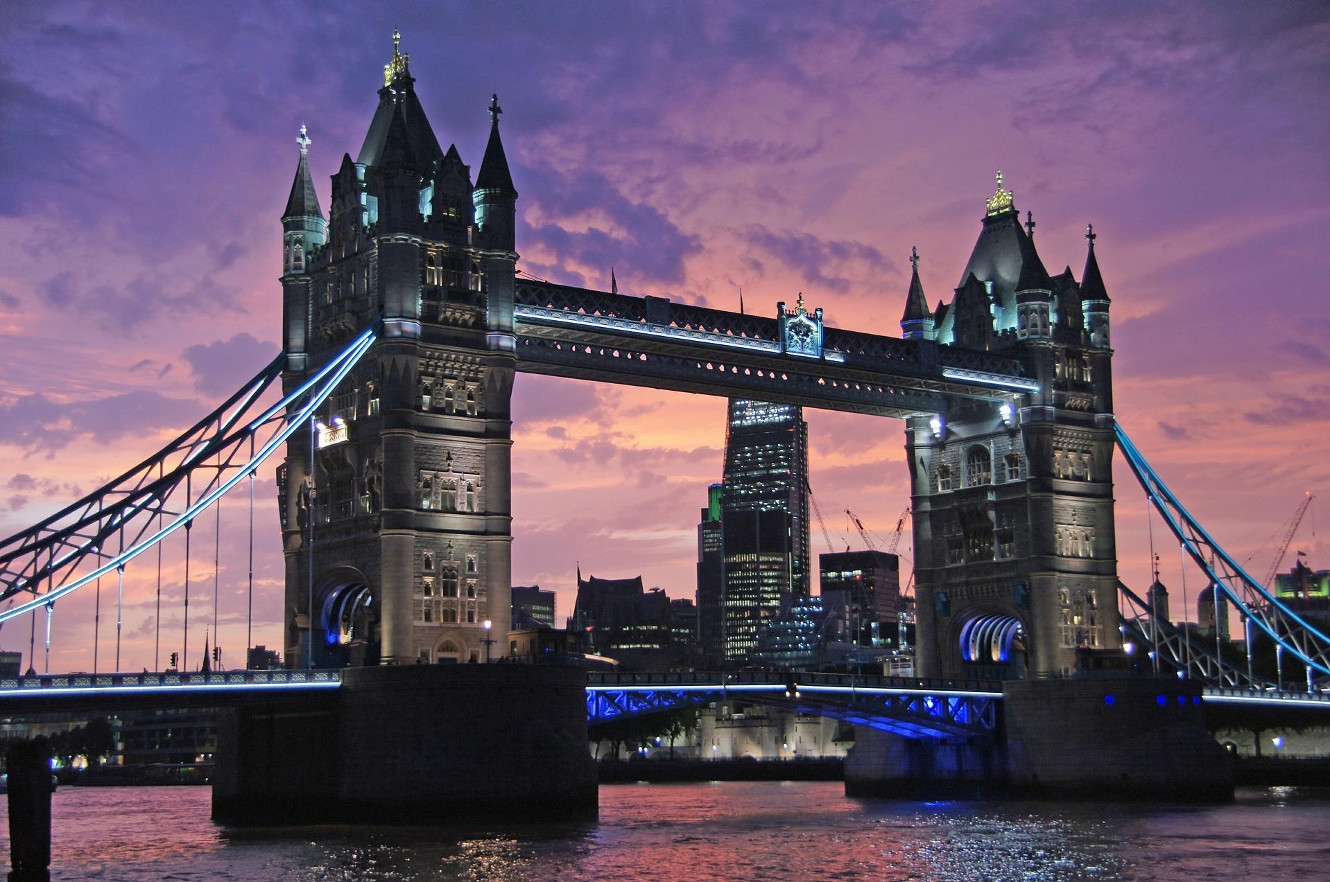 London, England at dusk