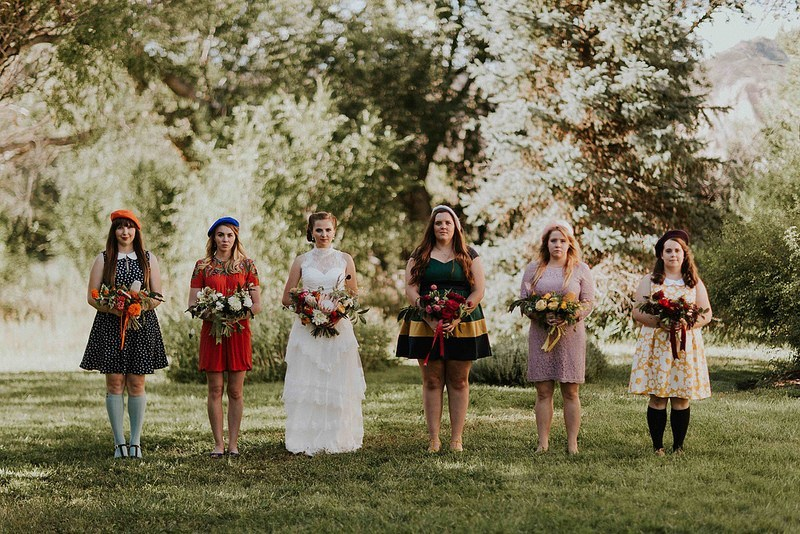eclectic bridal party