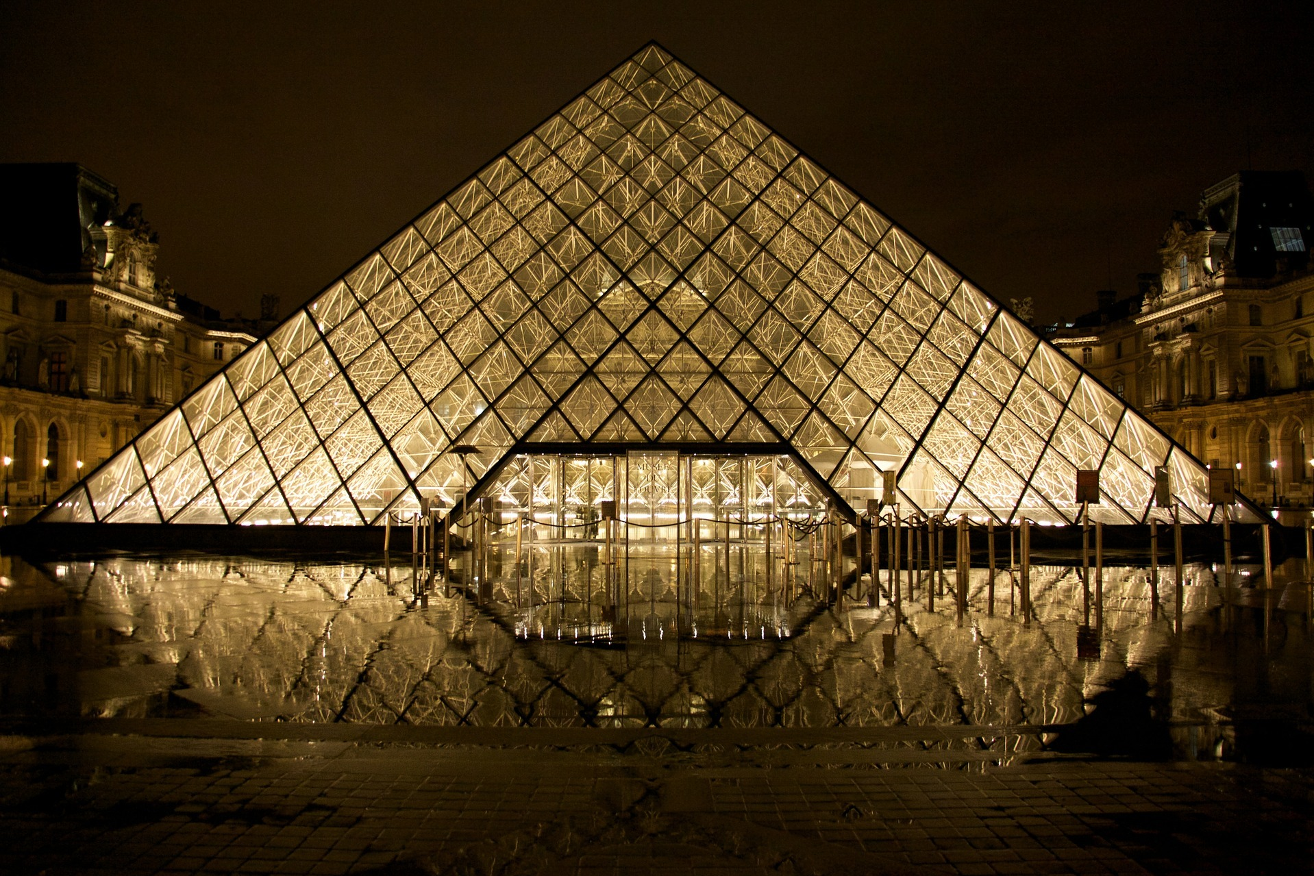 The Louvre in Paris, France at night
