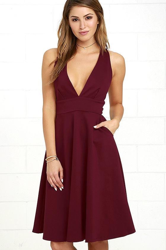 burgundy knee length dress