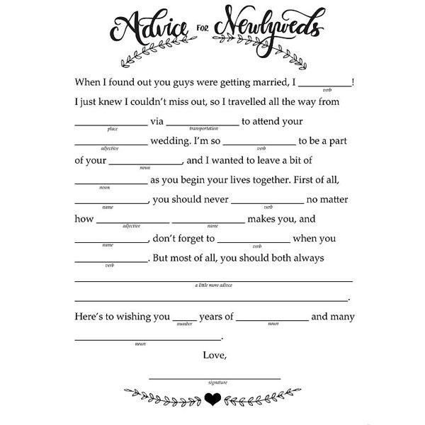 Wedding Mad Libs Printable