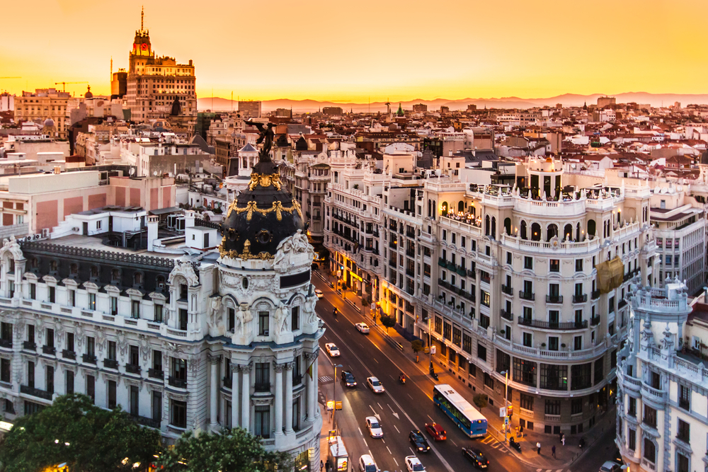 Madrid buildings at sunset