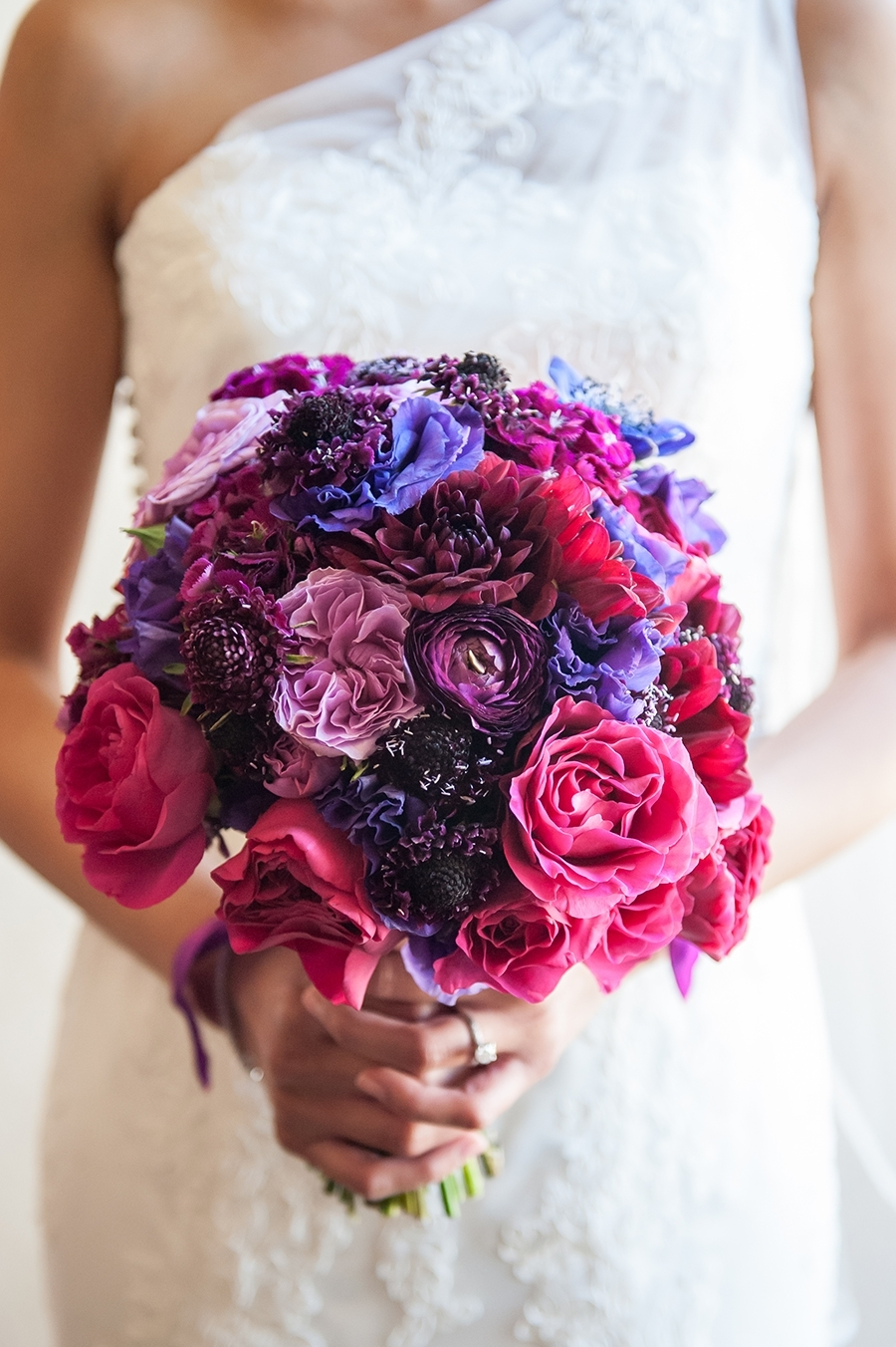 Jewel toned rose bouquet
