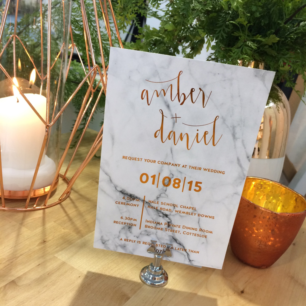 Marble and Metallic Wedding Programs
