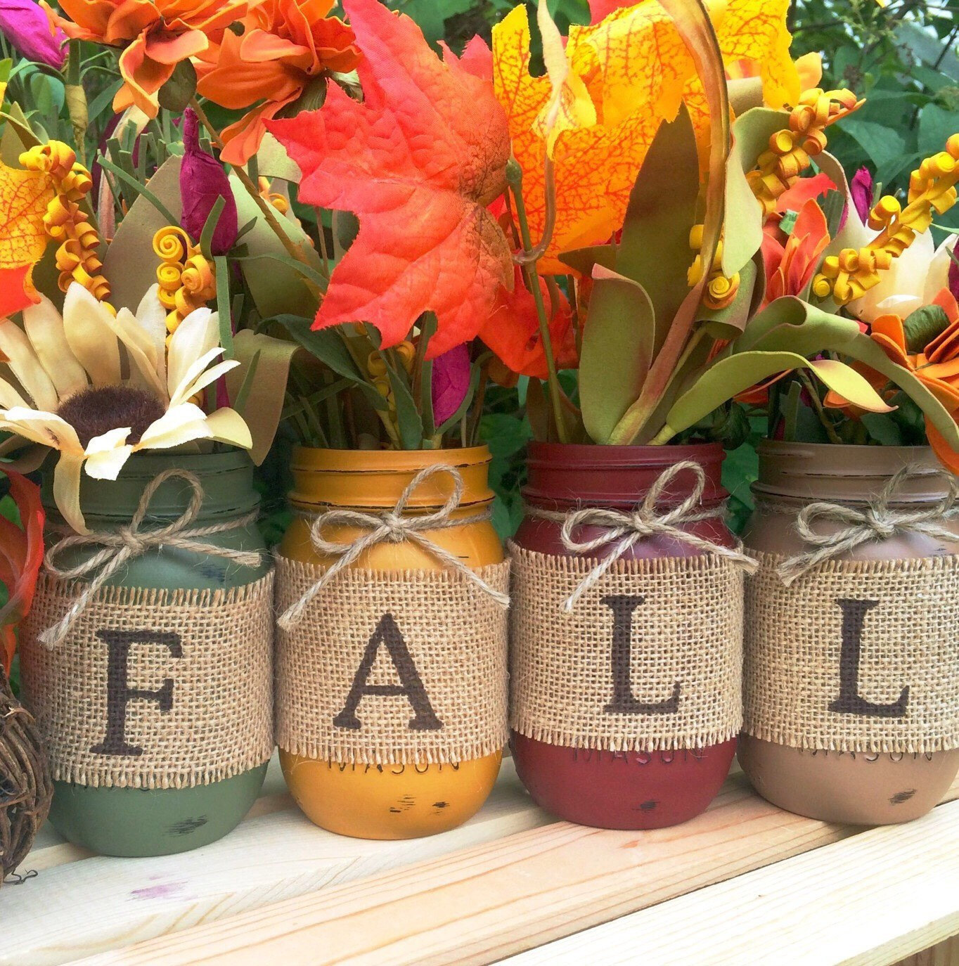 Colorful Leaves in Colorful Mason Jars