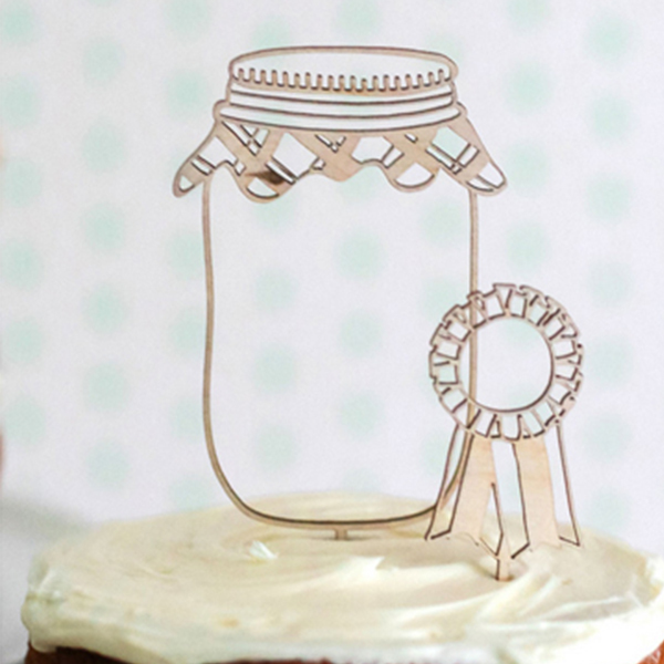 Mason jar cake topper